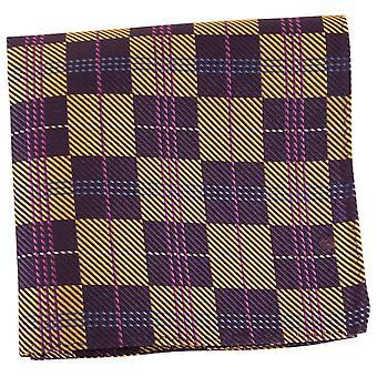 Knightsbridge Neckwear tjekket silke Pocket Square - Navy/guld