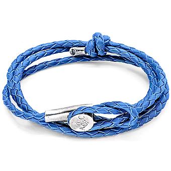 Anchor and Crew Dundee Silver and Leather Bracelet - Royal Blue