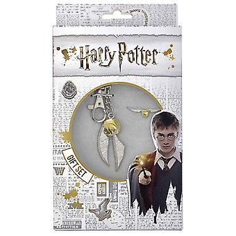 Harry Potter Keyring and Pin Badge Set Golden Snitch new Official Boxed