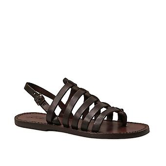 Womens brown Leather thong sandals handmade in Italy