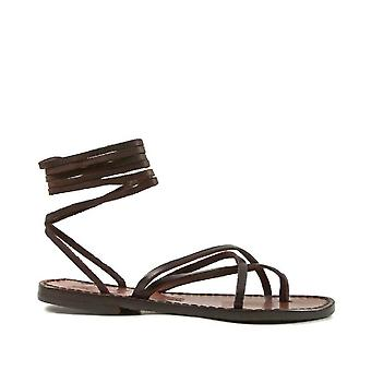 Womens strappy leather sandals Handmade in Italy in dark brown cuir