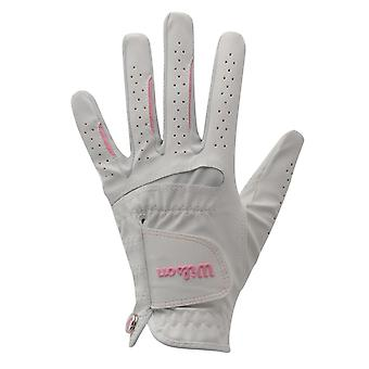 Wilson Womens Feel Plus Golf Glove Ladies Cool Left Hand Carbetta Leather Patch