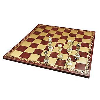 Store metall Staunton Chess sett med skinn bord