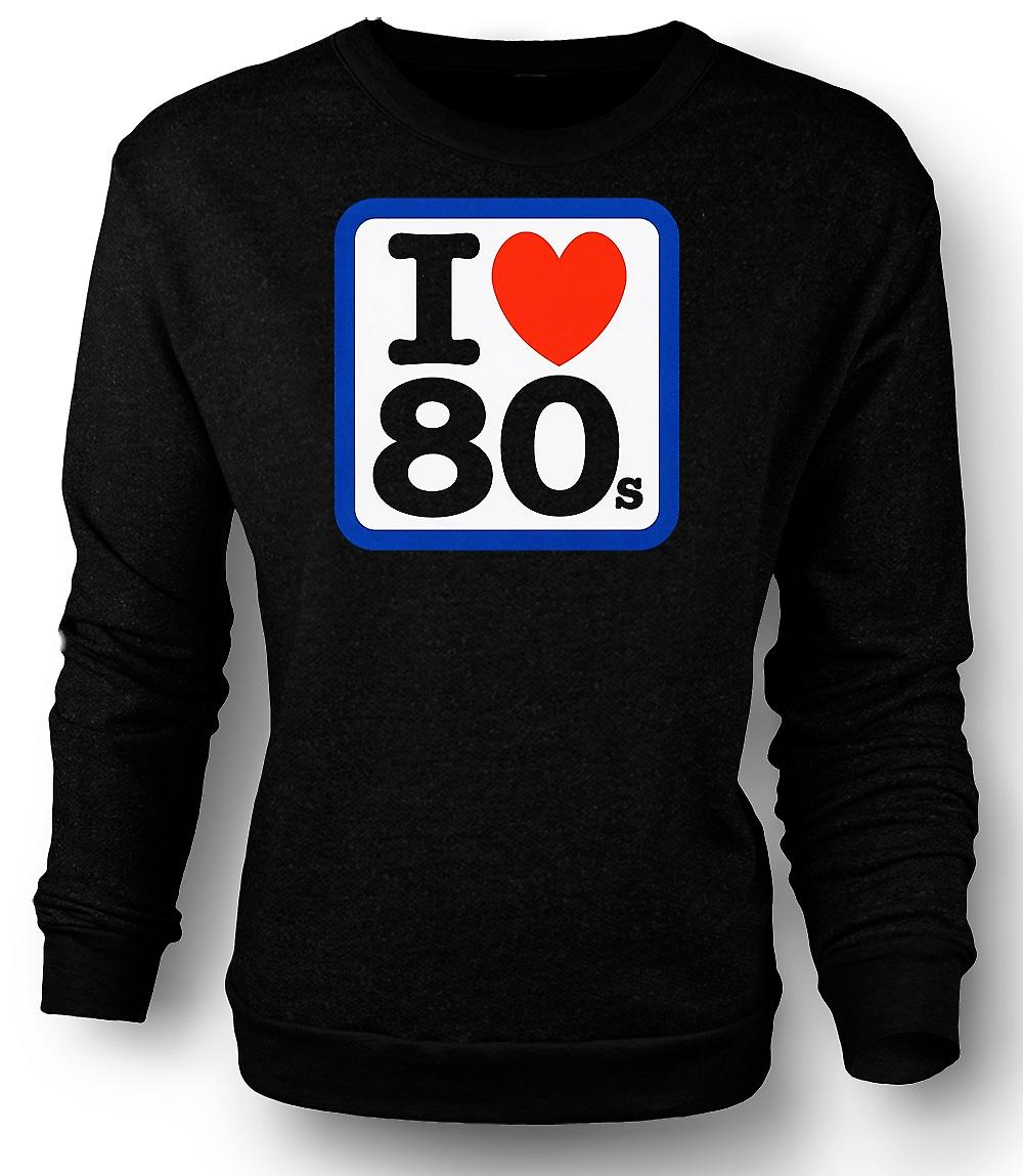 Mens-Sweatshirt I Love Heart 80er - lustig
