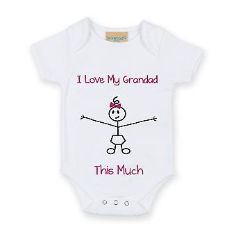 I Love My Grandad This Much Girls White Baby Grow