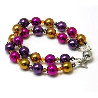 Kleshna Knot Pansy Simulated Pearl & Rhinestone Bracelet, Magnetic Closure