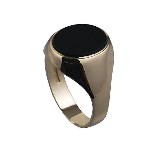 9ct Gold 12x10mm Onyx cushion gents signet Ring