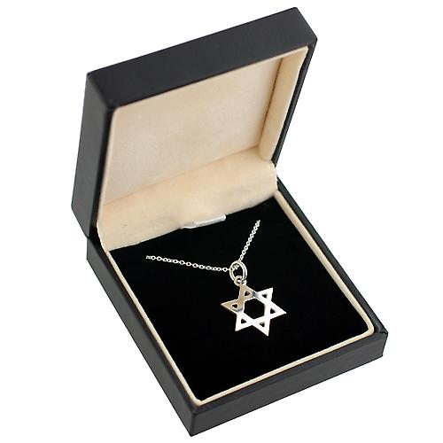 Silver 18mm plain Star of David Pendant with a rolo Chain 14 inches Only Suitable for Children