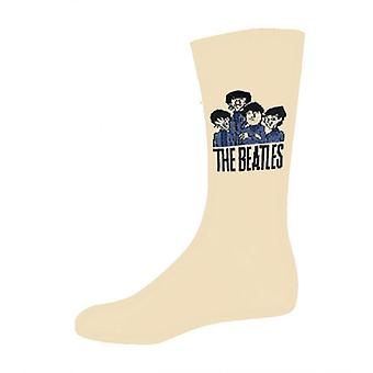 The Beatles Socks Cartoon Group Band Logo Official Mens New Beige (UK Size 7-11)