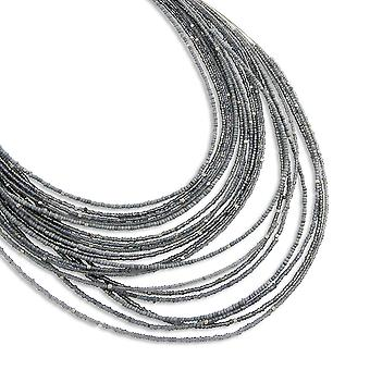 PEARLS FOR GIRLS jewelry elegant 20-layered ladies necklace-silver