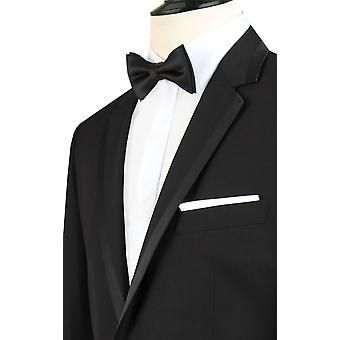 Dobell Mens Black Tuxedo Dinner Jacket Regular Fit Notch Lapel Satin Trim