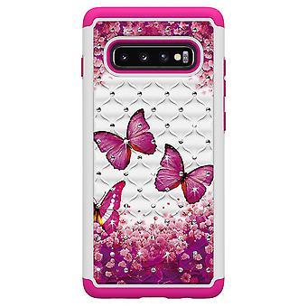 Samsung Galaxy S10 + TPU Shell Rüstung Extra langlebig-rosa Schmetterlinge
