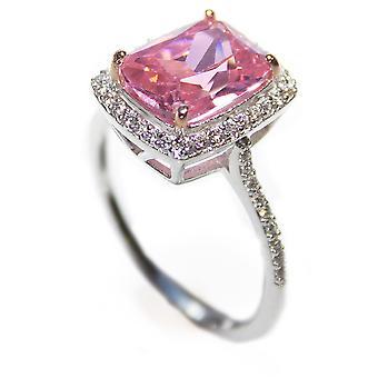 Ah! Jewellery Women's Radaint Pink Cubic Zirconia Ring, Sterling Silver