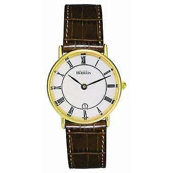 Michel Herbelin Womens Gold Plated Classic Leather Strap 16845/P08GO Watch