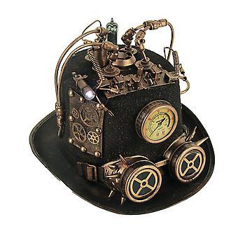 Steampunk cilinderhoed met manometer en LED licht