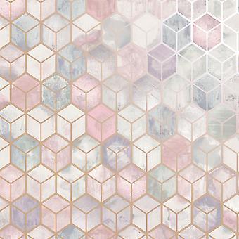 3D effet nid d'abeille rose papier peint géométrique gris rose or métallisé Holden
