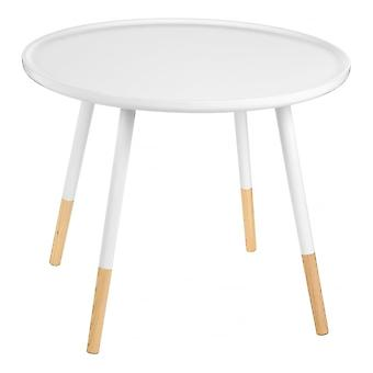 Fusion Living White Circular Large Side Table With Beech Tipped Legs