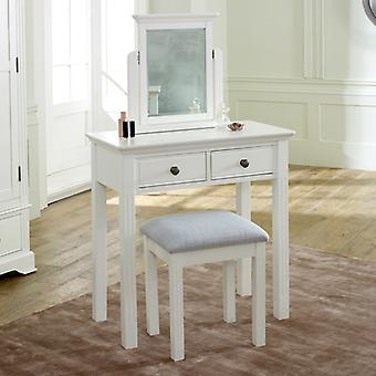 White Dressing Table, Mirror & Stool Set - Davenport White Range