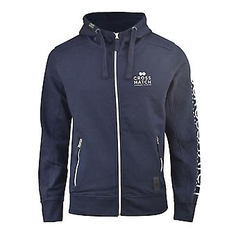Mens hoodie crosshatch full xzipoded tobiah