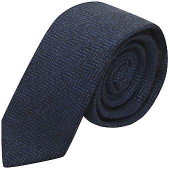 Midnight Blue & Black Herringbone Tie