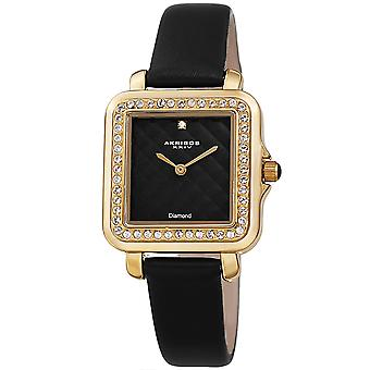 Akribos XXIV AKS191106BK Women's Quartz Square Diamond and Crystals Argyle Leather Strap Watch