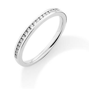 Jewelco London 18ct White Gold Diamond 0.15ct Eternity Wedding Band Ring - 2.4mm