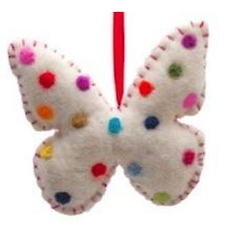 White Fabric Butterfly Mobile