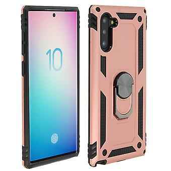 Samsung Galaxy Note 10 Case Bi Material Rigid Soft Magnetic Ring Stand Rose gold