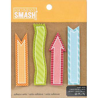Smash Simple Sticky Note Pad 60 Sheets 4 Pads 15 Per Pad 30671683