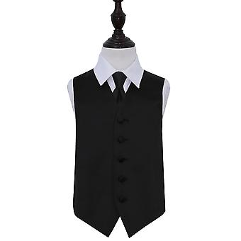 Boy's Black Plain Satin Wedding Waistcoat & Tie Set