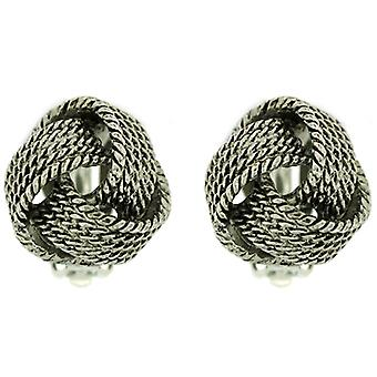 Clip On Earrings Store Antique Silver Rope Knot Clip On Earrings