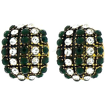 Clip On Earrings Store Large Antique Gold and Emerald Green Crystal Semi Hoop Clip On Earrings