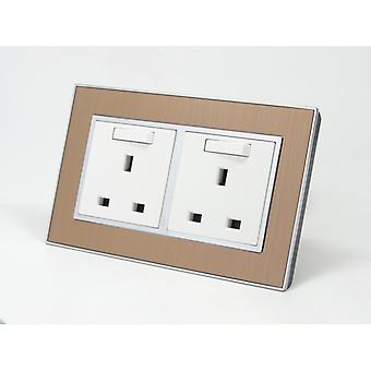 I LumoS AS Luxury Gold Satin Metal Double Switched Wall Plug 13A UK Sockets