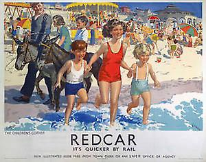 Redcar (old rail ad.) fridge magnet   (se)