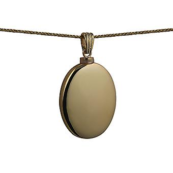9ct Gold 35x26mm handmade plain oval Memorial Locket with a spiga Chain 16 inches Only Suitable for Children