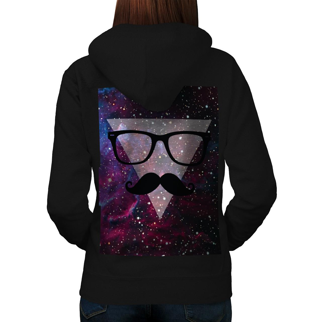 Master Disguise Space Funny Face Women Black Hoodie Back | Wellcoda