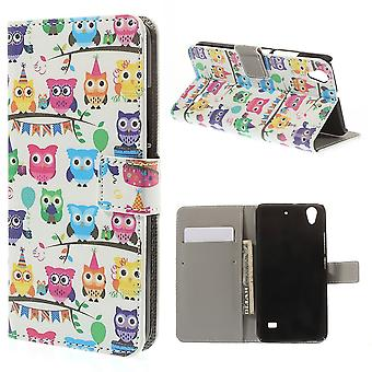 Cape colored PU leather Owls for Huawei Ascend G620S