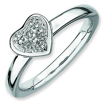 Sterling Silver Polished Prong set Rhodium-plated Stackable Expressions Heart Diamond Ring - Ring Size: 5 to 10