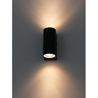 Wall luminaire for Outdoor + Indoor, 2 x GU10, UpDown black, 10217
