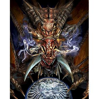 Head of a red dragon Poster Print