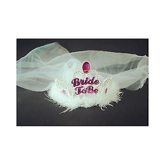 Bachelorette party tiara bridal white veil bride to be Hen night stag