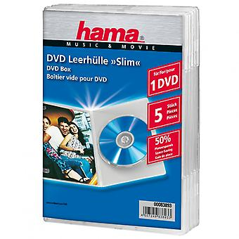 HAMA DVD case Slim 5-pack transparant