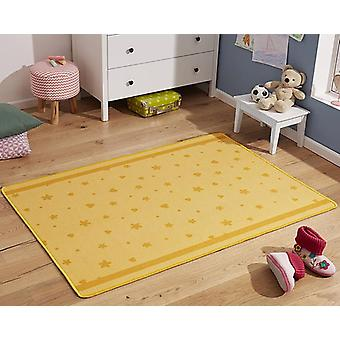 Design kids carpet star and heart yellow orange 100 x 140 cm
