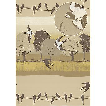 Bird wallpaper Atlas SIG-583-3 non-woven wallpaper beige grey brown smooth with landscapes and metallic accents bright ivory perl gold 5.33 m2
