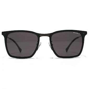 Police Textured Square Sunglasses In Semi Matte Black Polarised