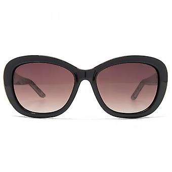 Kurt Geiger Rose Small Glamour Sunglasses In Black & Lace Print