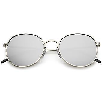 Klassiske Metal runde solbriller tynde arme farvede spejl flad linse 52mm