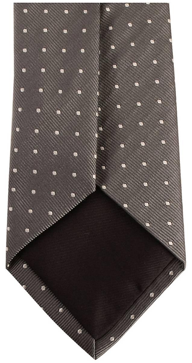 Bassin and Brown Medium Spot Silk Tie - Grey/Black