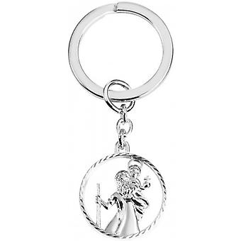 Orton West St Christopher Cut Out Key Ring - Silver