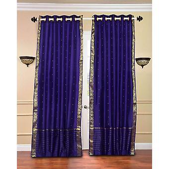 Purple Ring Top  Sheer Sari Curtain / Drape / Panel  - Piece